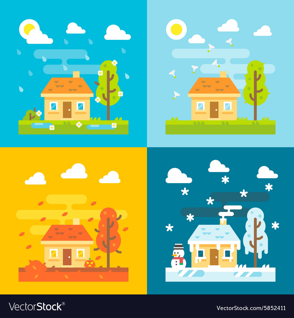 4 seasons house flat design set vector