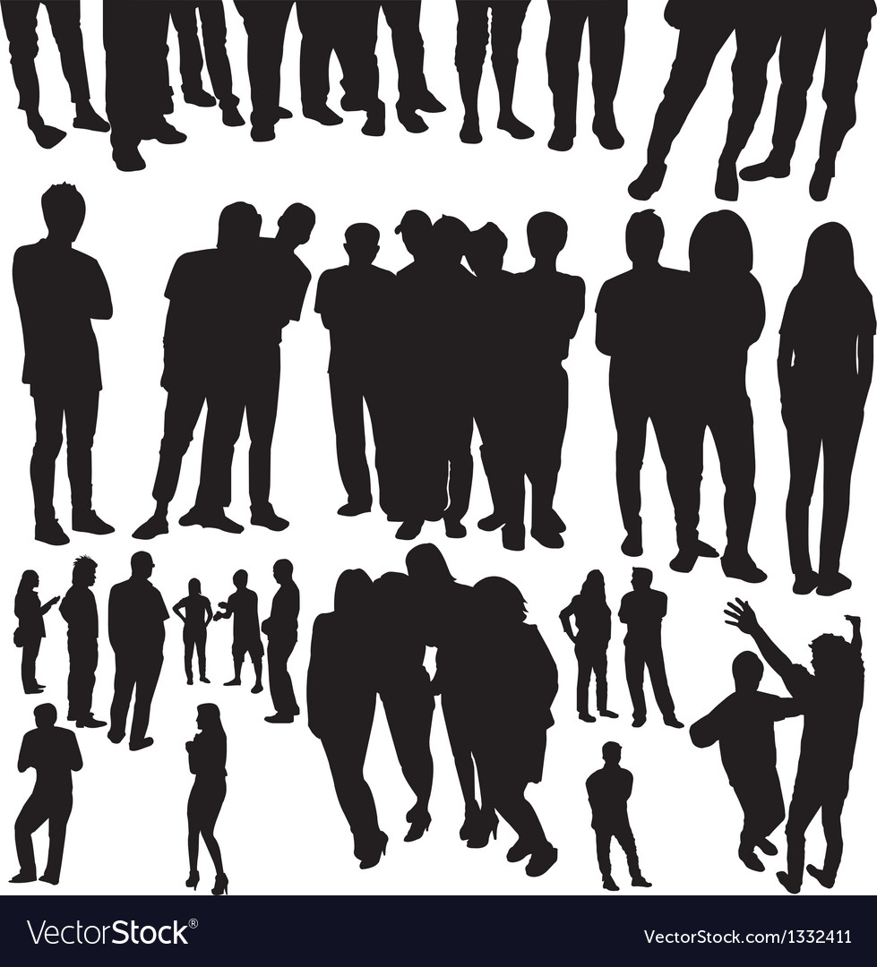 Crowded people silhouette vector