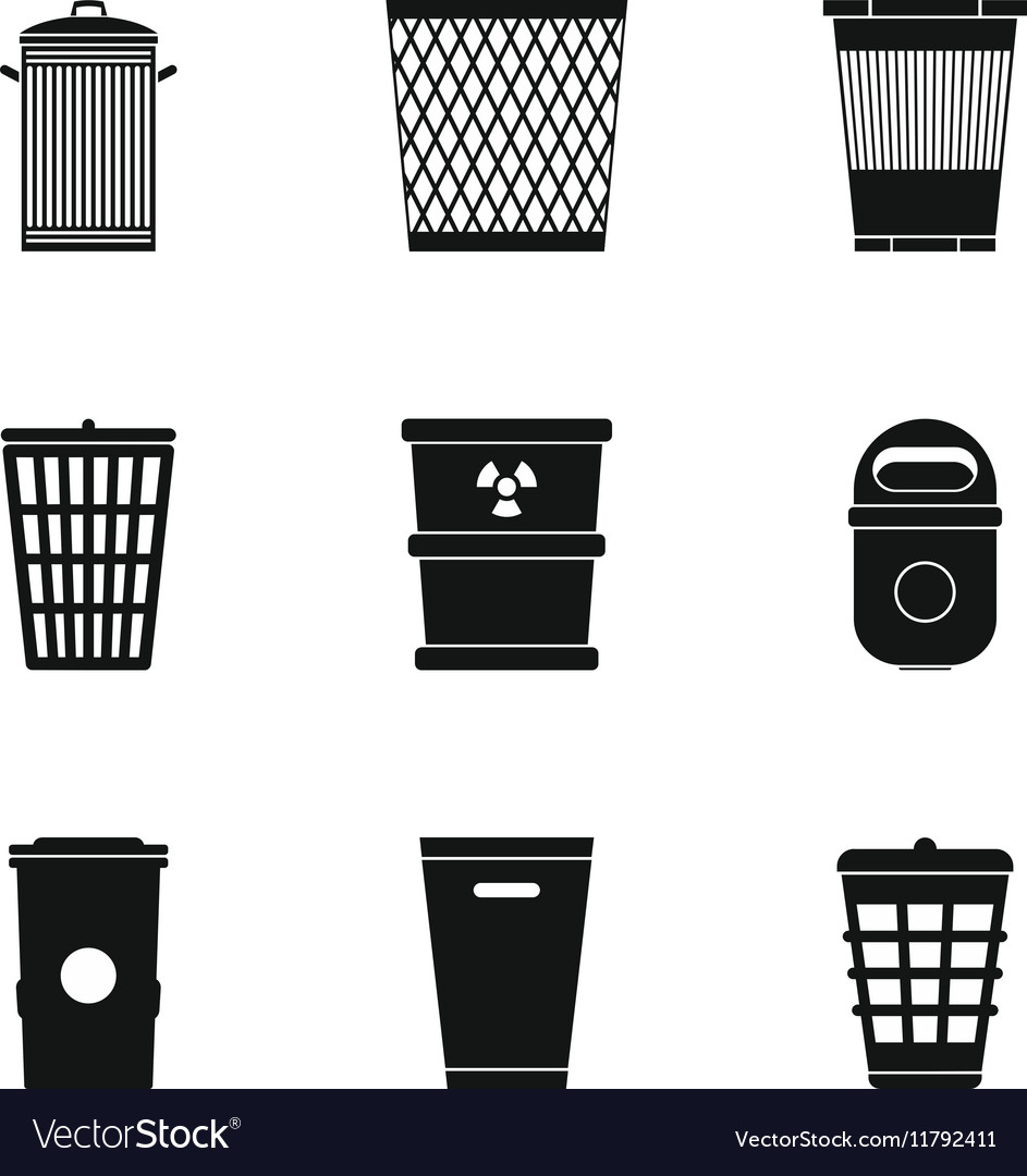 Rubbish bin icons set simple style vector