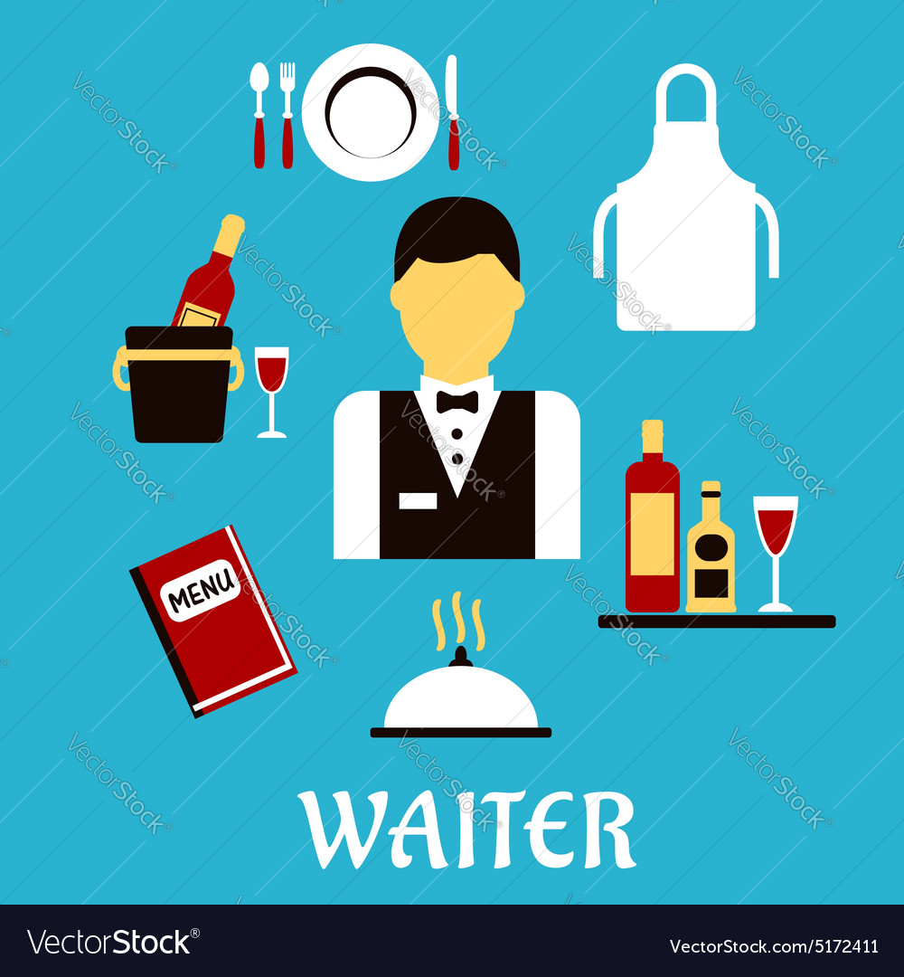 Waiter profession with flat tableware icons vector