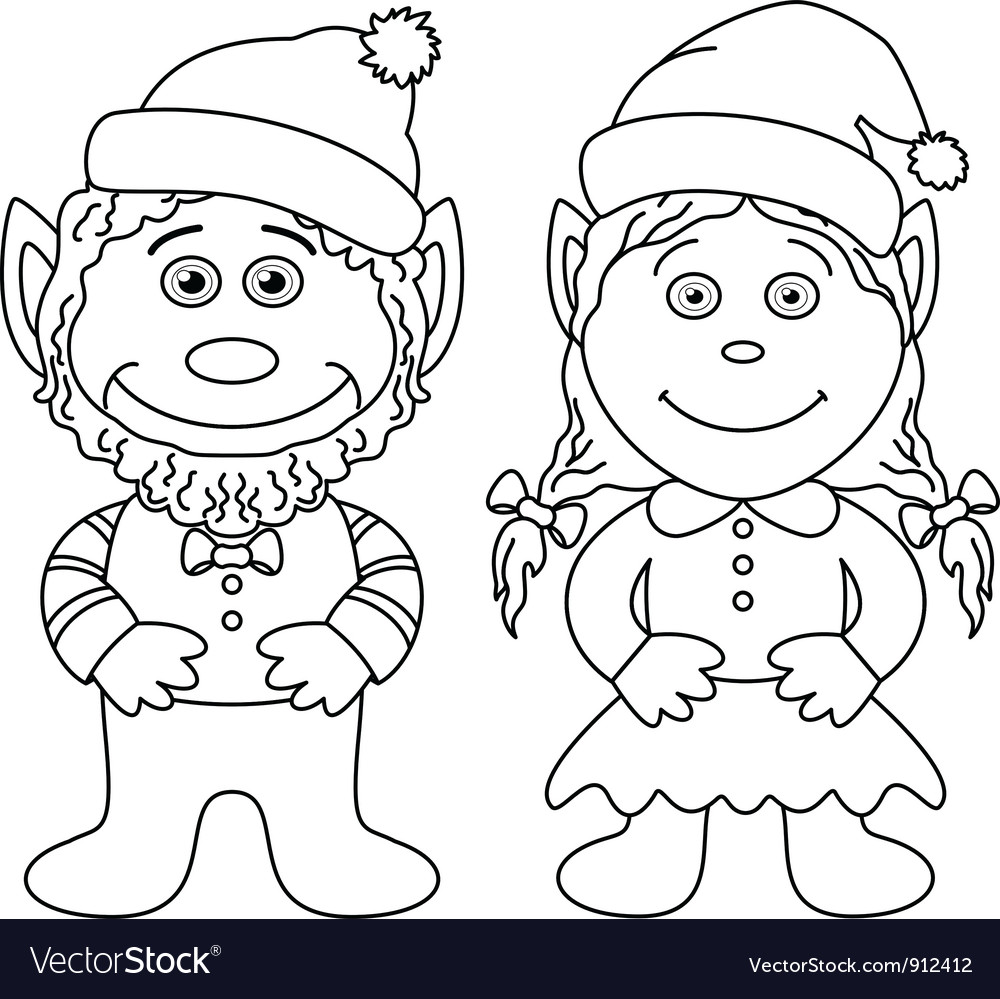 Gnomes boy and girl outline vector