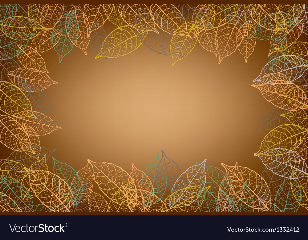 Leaves frame brown background vector