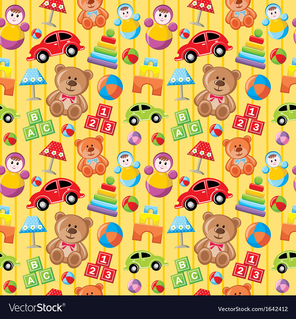 Seamless toys pattern vector