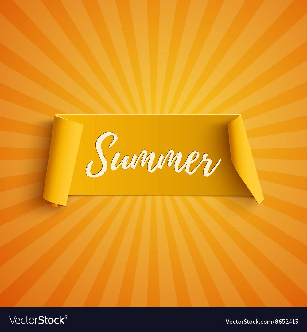 Summer yellow curved banner vector