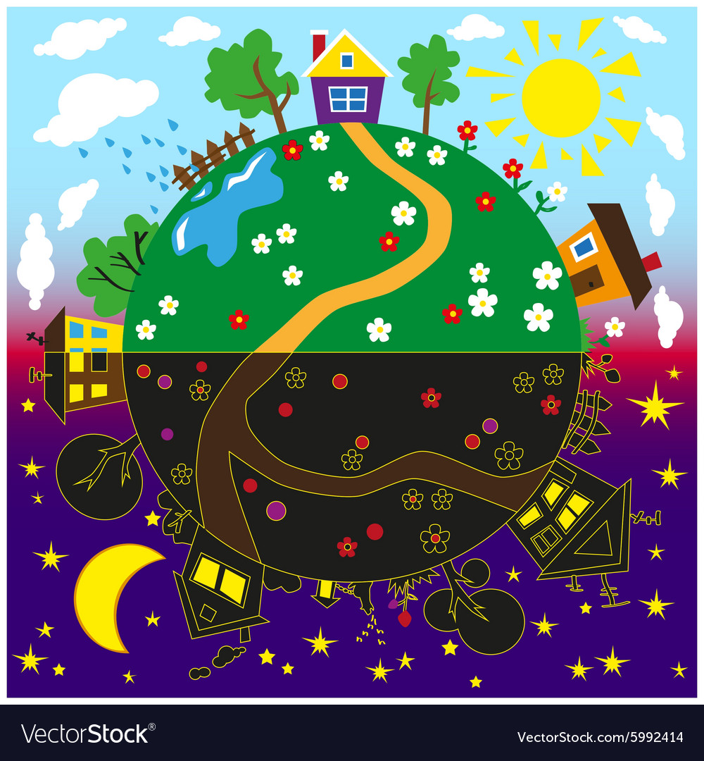 Earth day and night vector