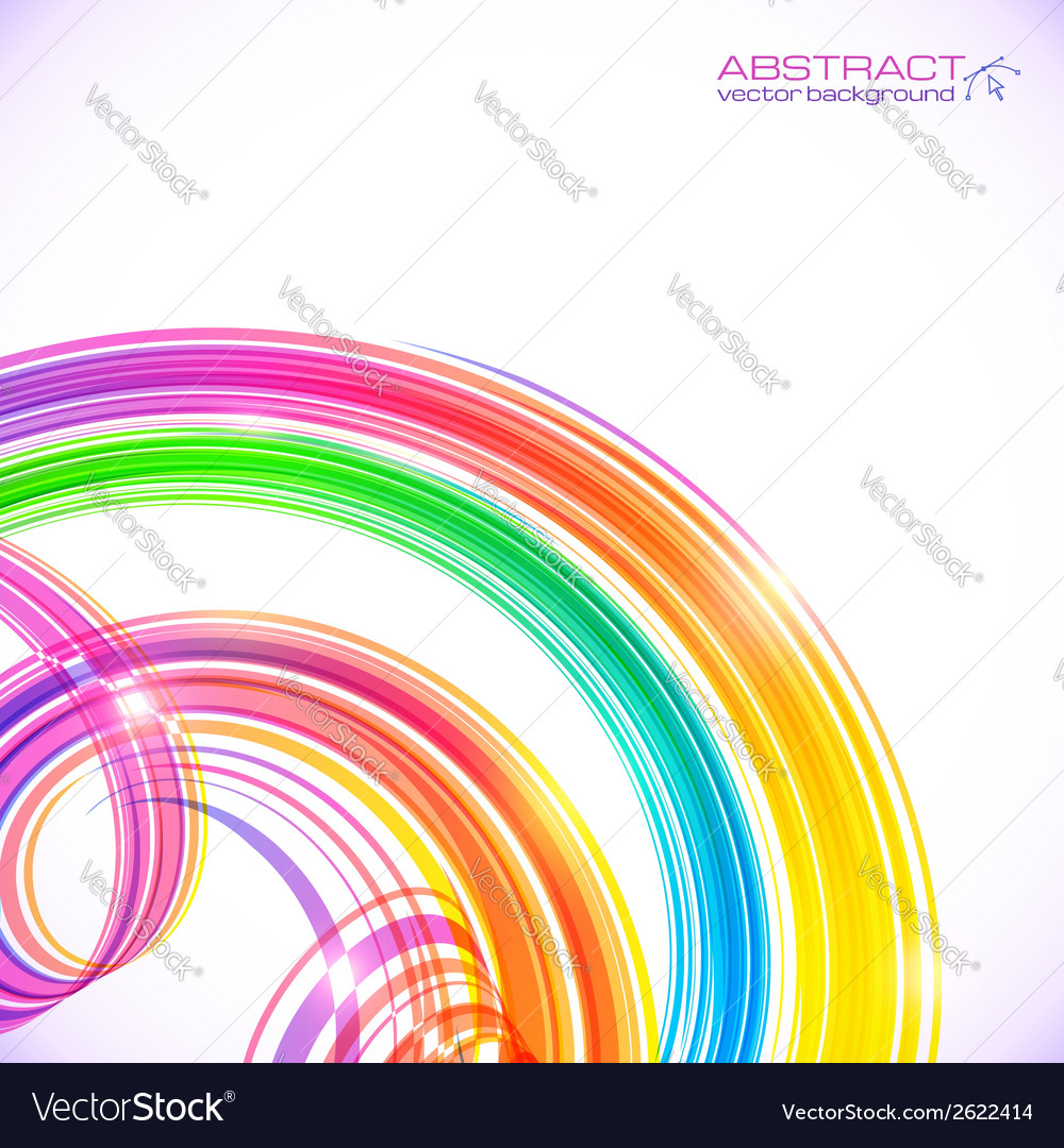 Rainbow colors abstract shining spirals background vector