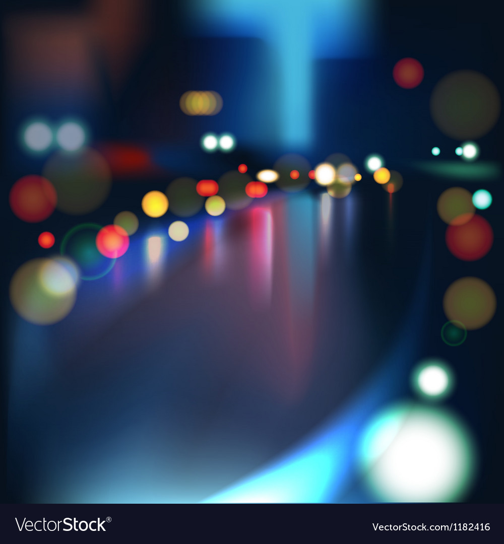 Blurred defocused lights of heavy traffic on a wet vector