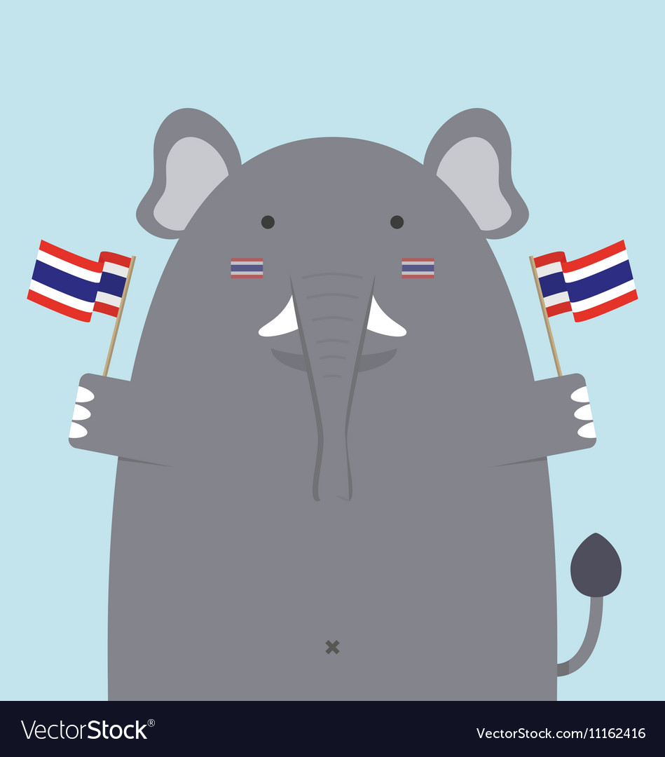 Cute fat big elephant holding thai flag vector