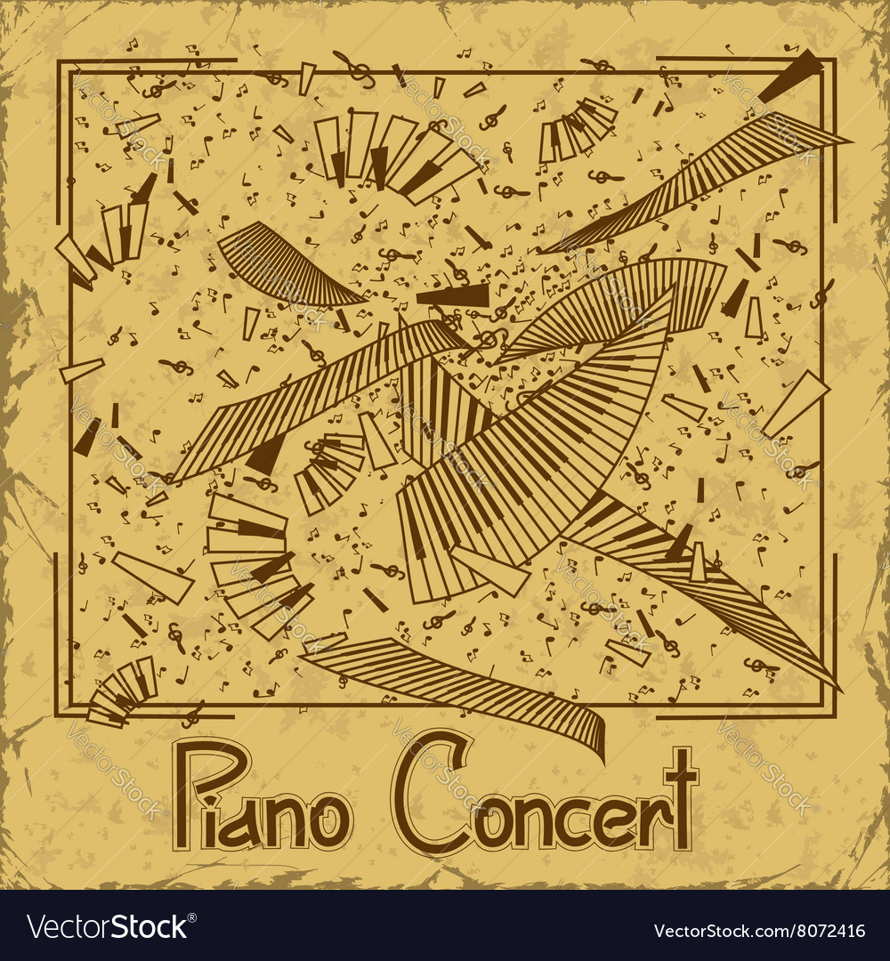Invitation to piano concert vector