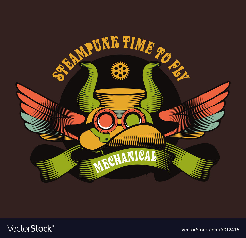 Steampunk mechanism vector
