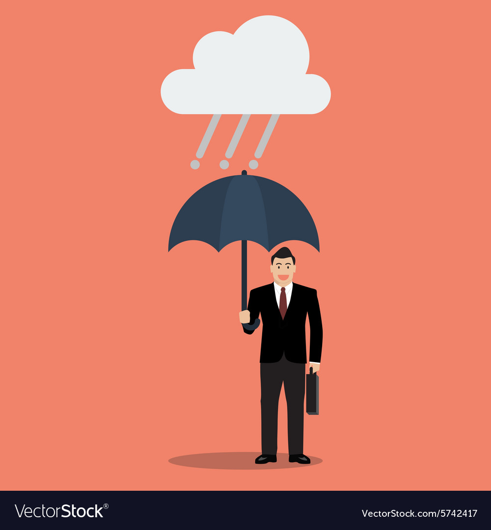 Businessman with umbrella in rain vector