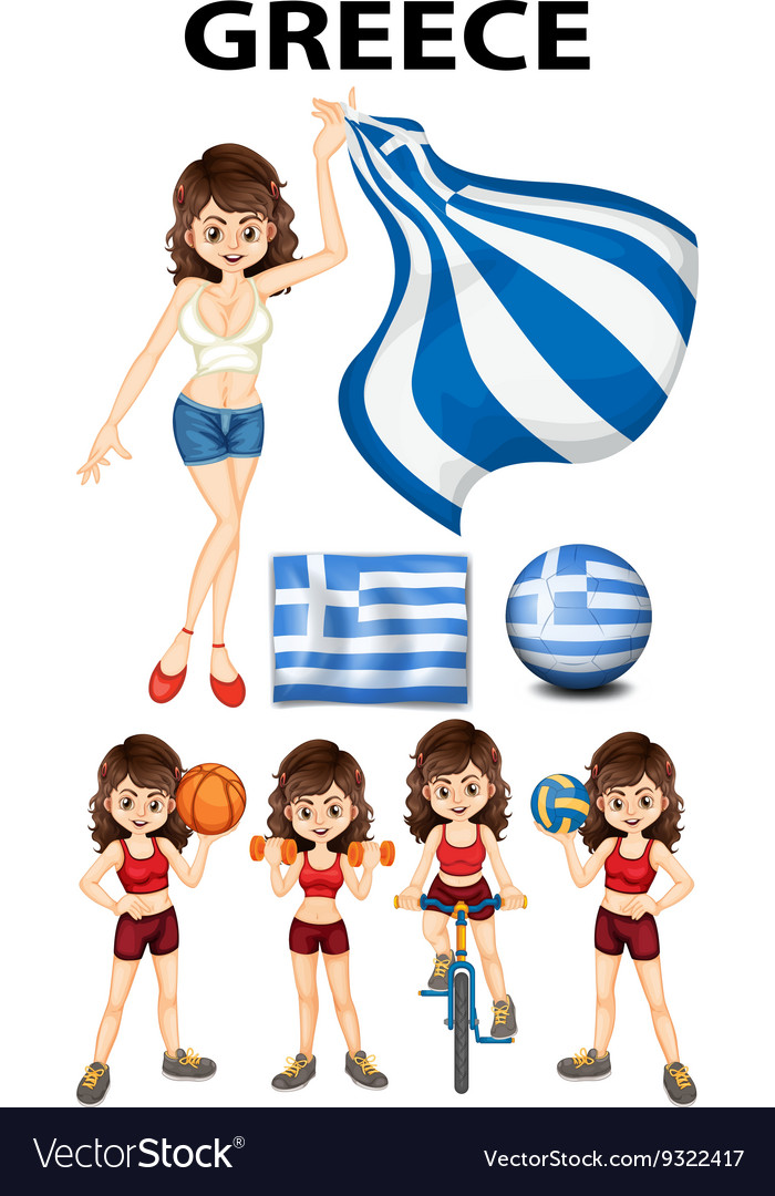Greece flag and woman athlete vector