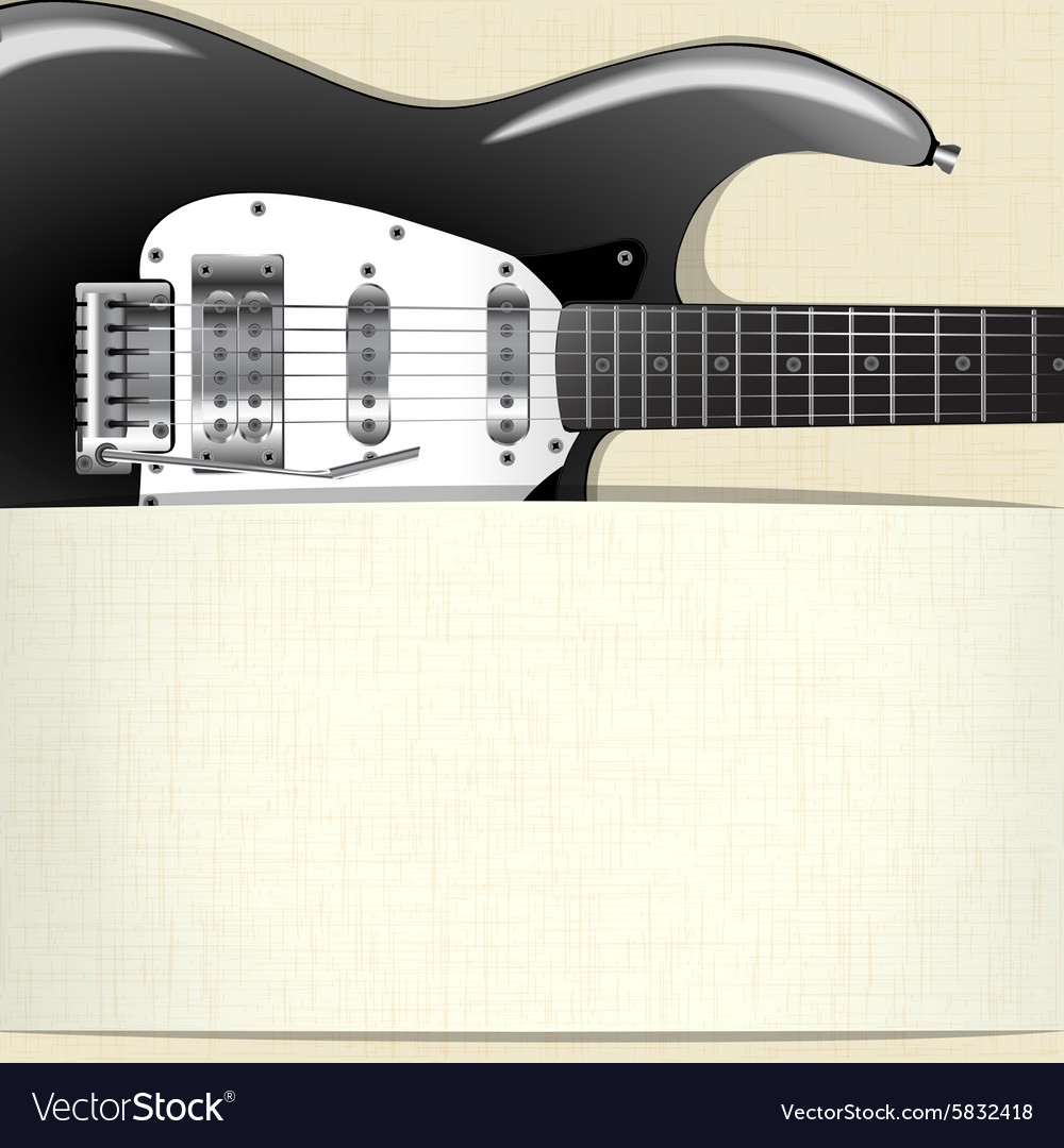 Rock music background with guitar and a horizontal vector