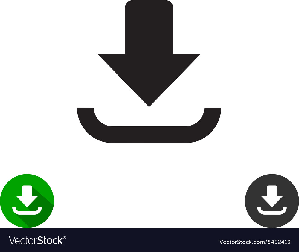 Download icon black simple style arrow down sign vector