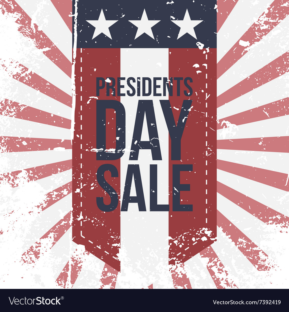 Presidents day sale label on striped background vector