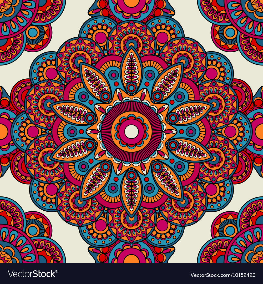 Mandala doodle colored seamless pattern vector