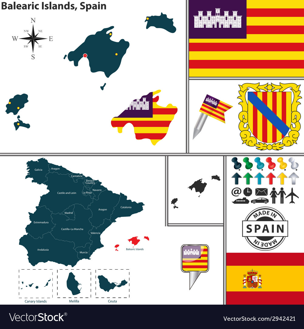 Map of balearic islands vector