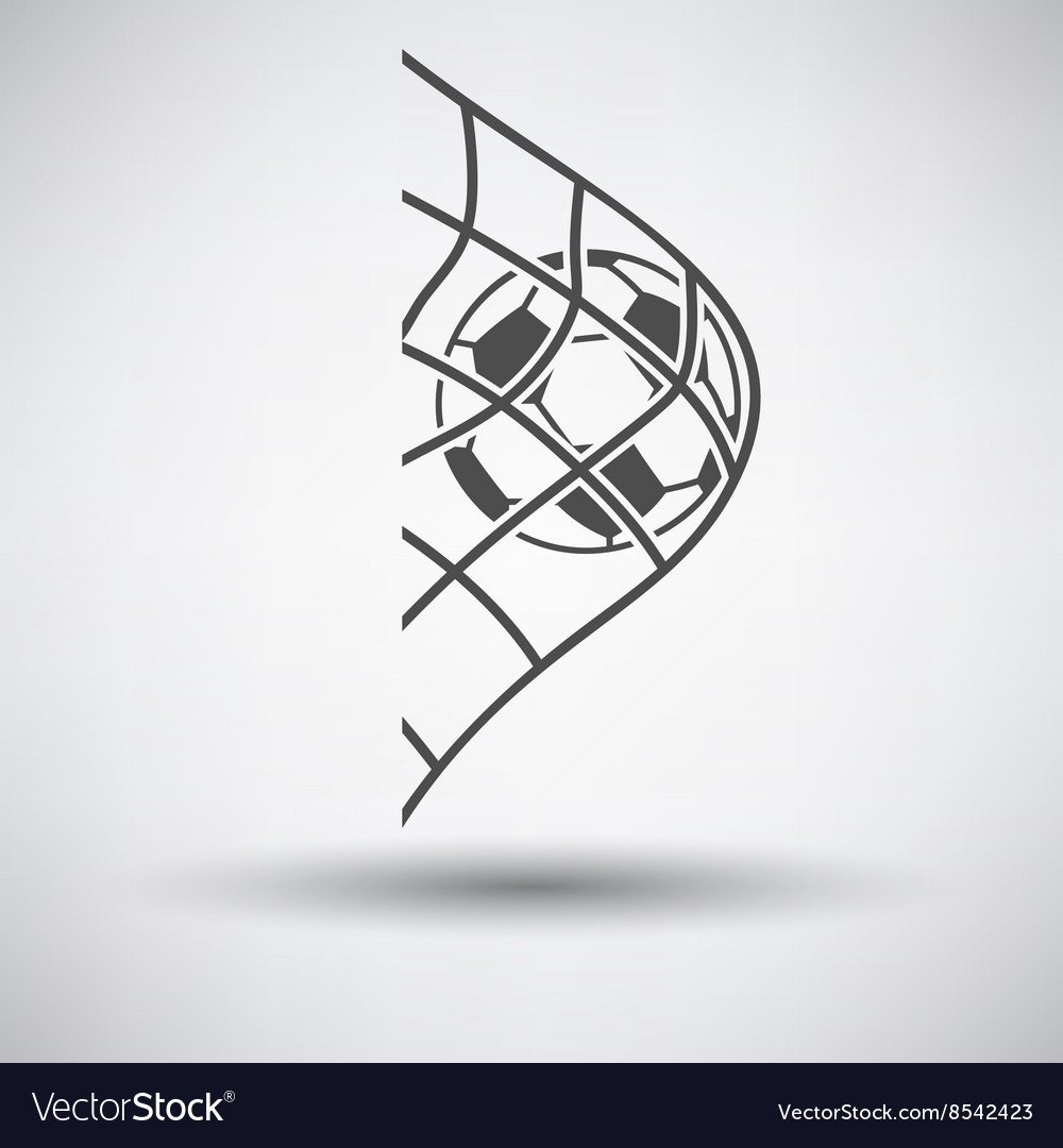 Soccer ball in gate net icon vector