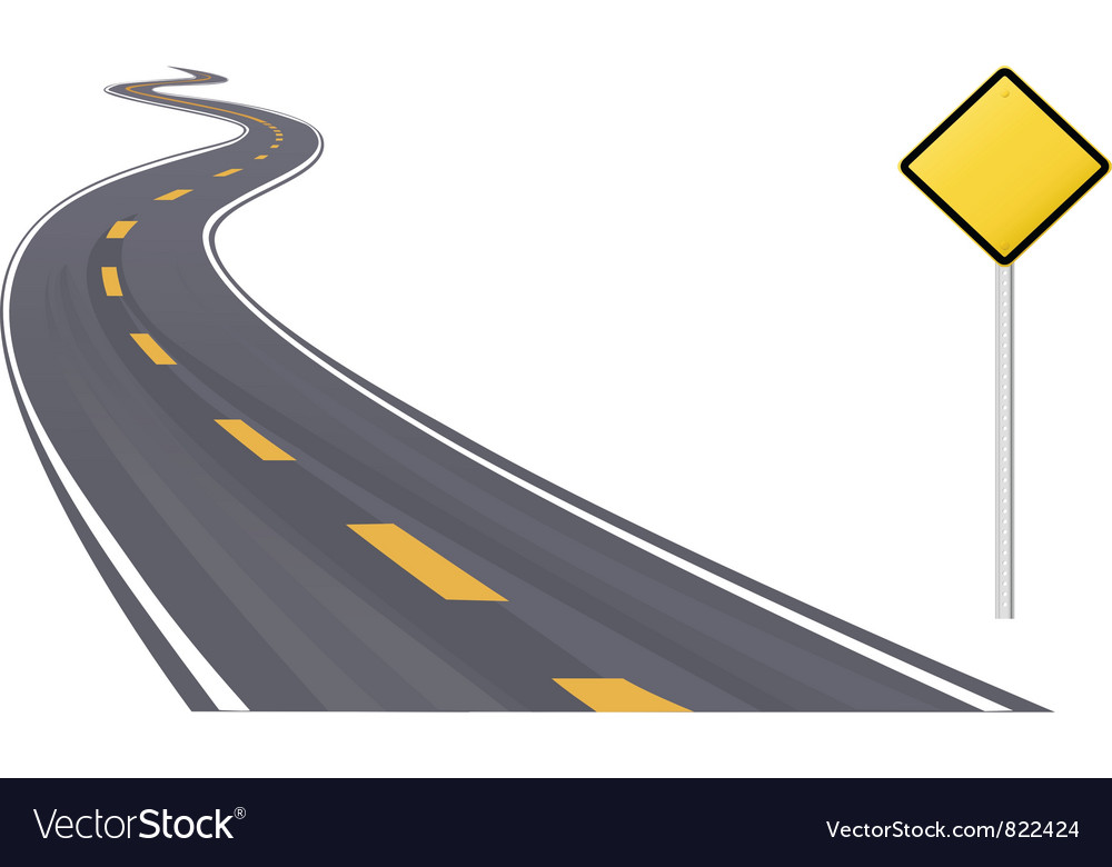 Highway with sign vector