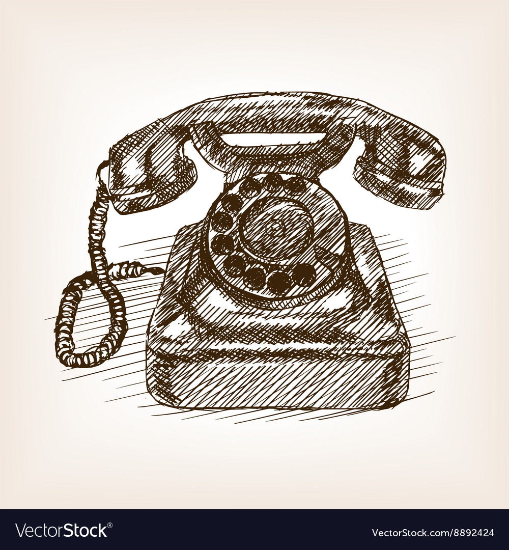 Old phone hand drawn sketch style vector