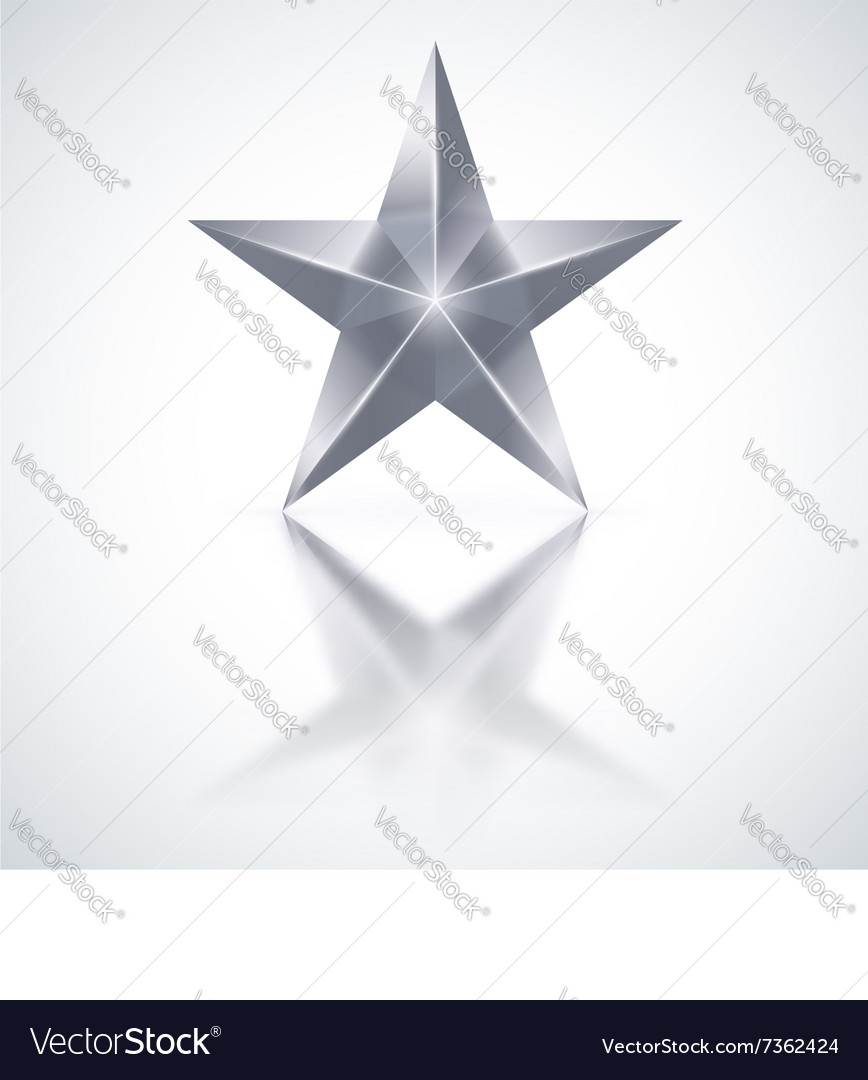 Silver star on white background vector