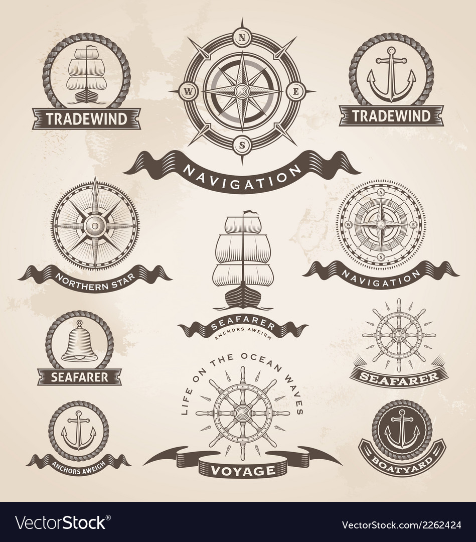 Vintage nautical label set  retro design elements vector