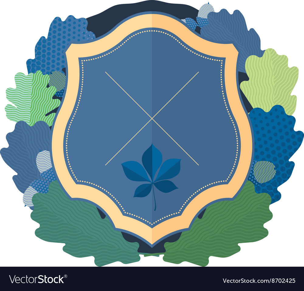 Blue shield with a wreath of oak leaves vector