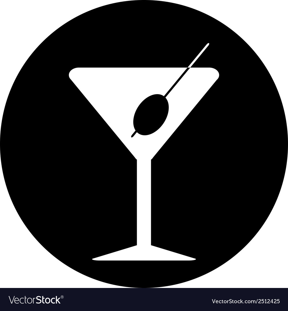 Martini glass button vector
