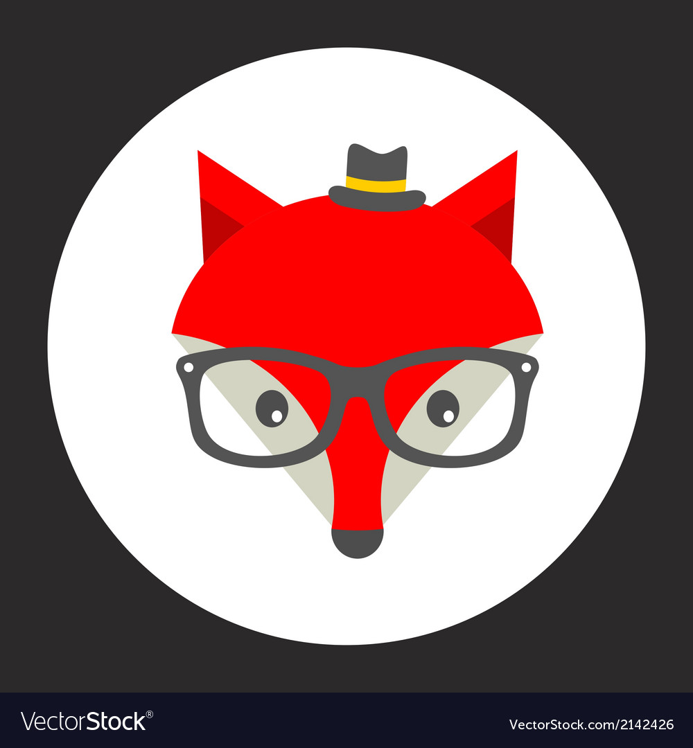Hipster fox label vector