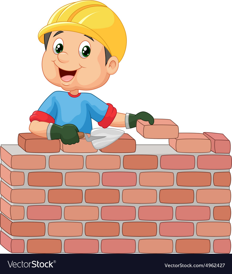 Construction worker laying bricks vector