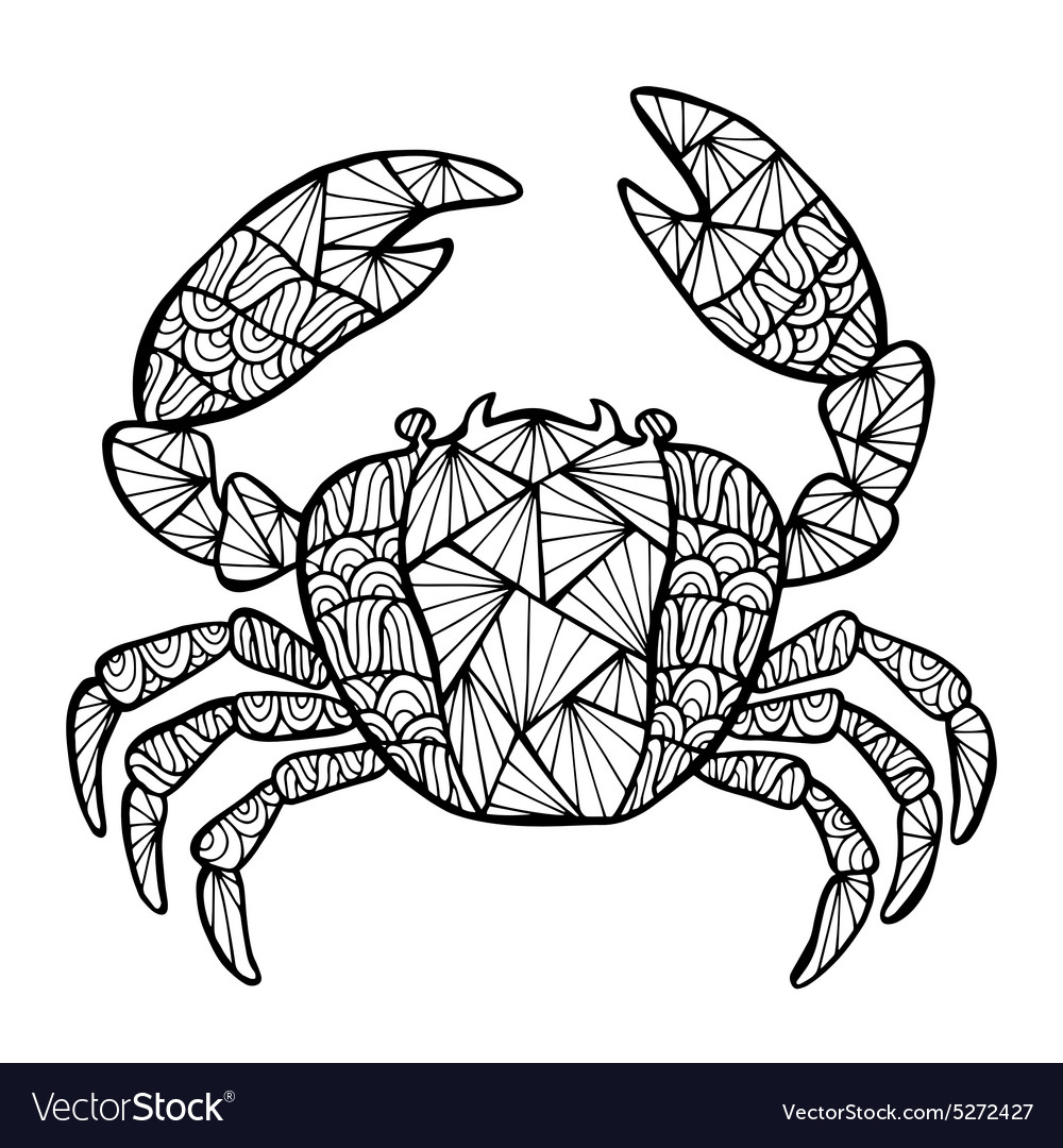 Stylized crab zentangle vector