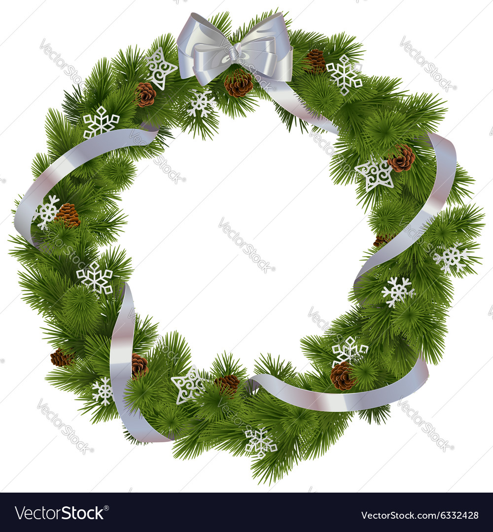 Christmas wreath with snowflakes vector