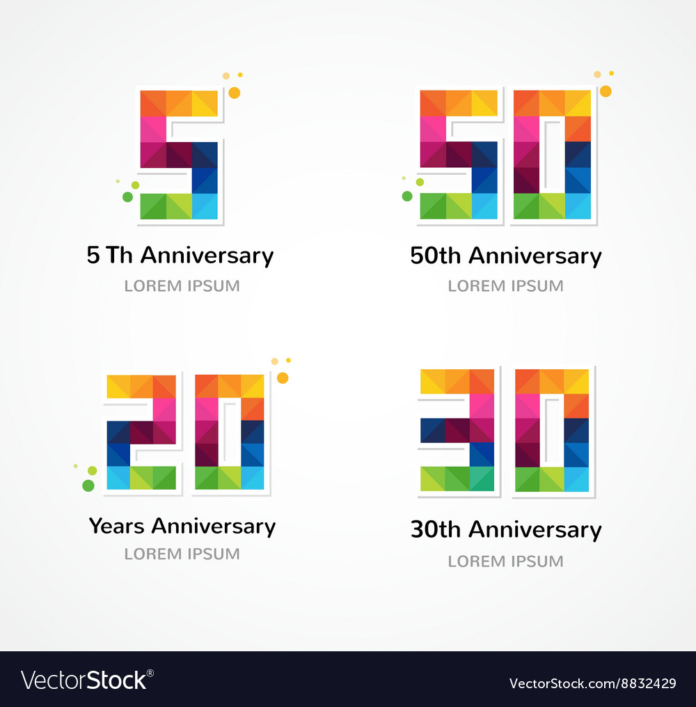 Anniversary  abstract colorful icons and elements vector