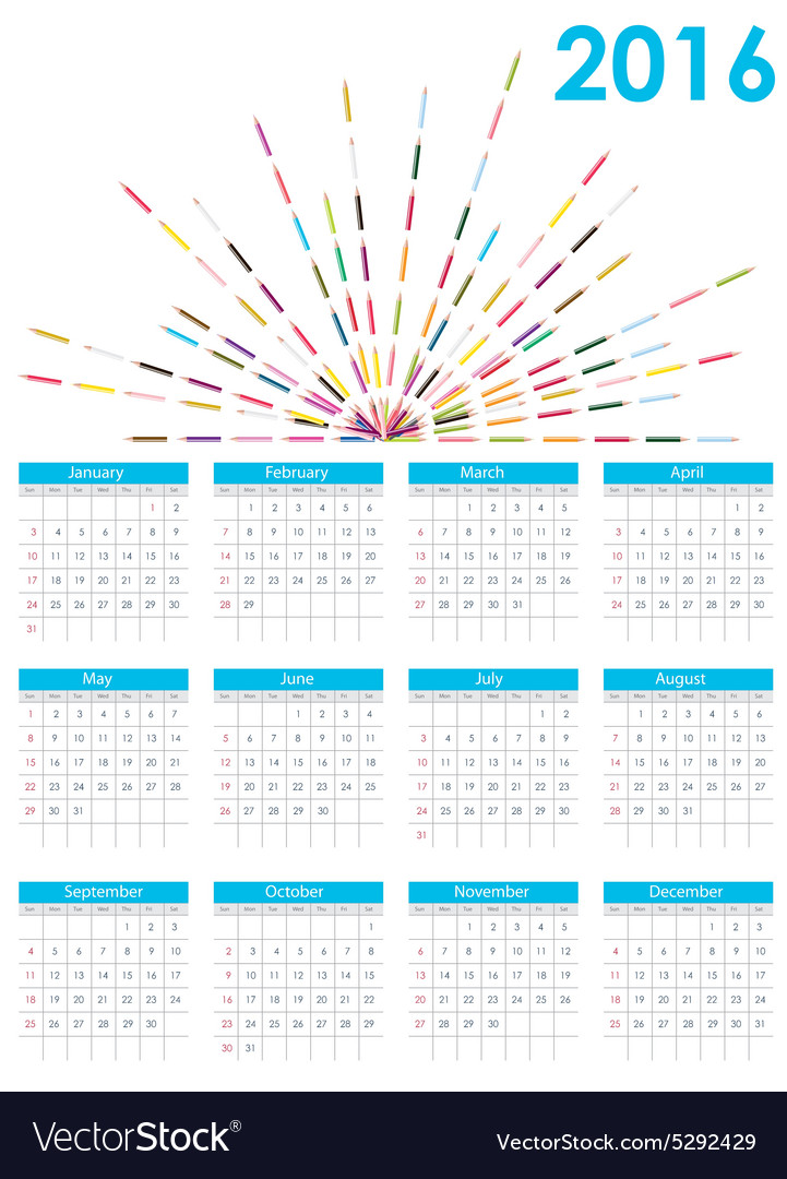 Calendar 2016 new year vector