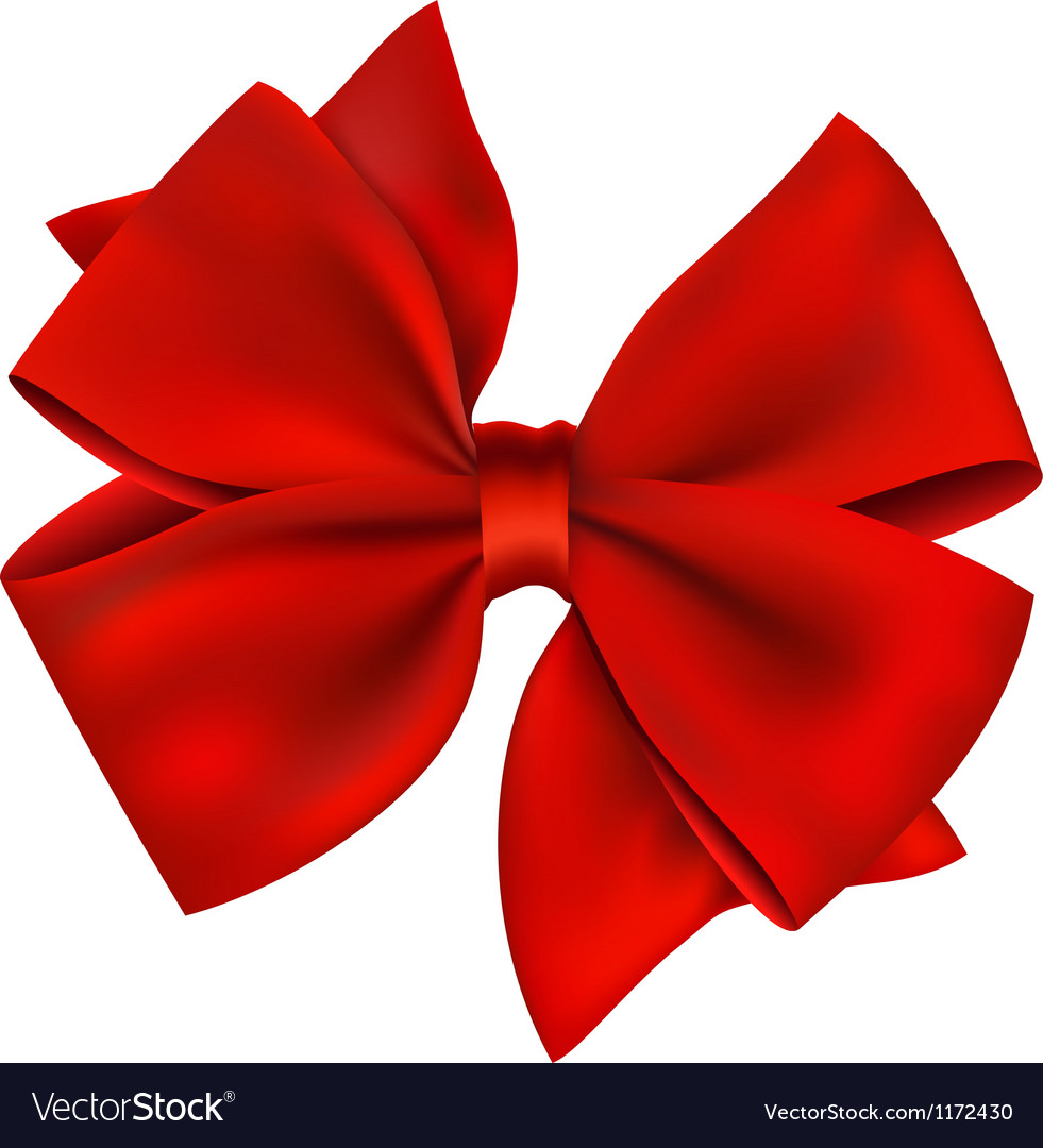 Red bow and ribbon gift isolated on white vector