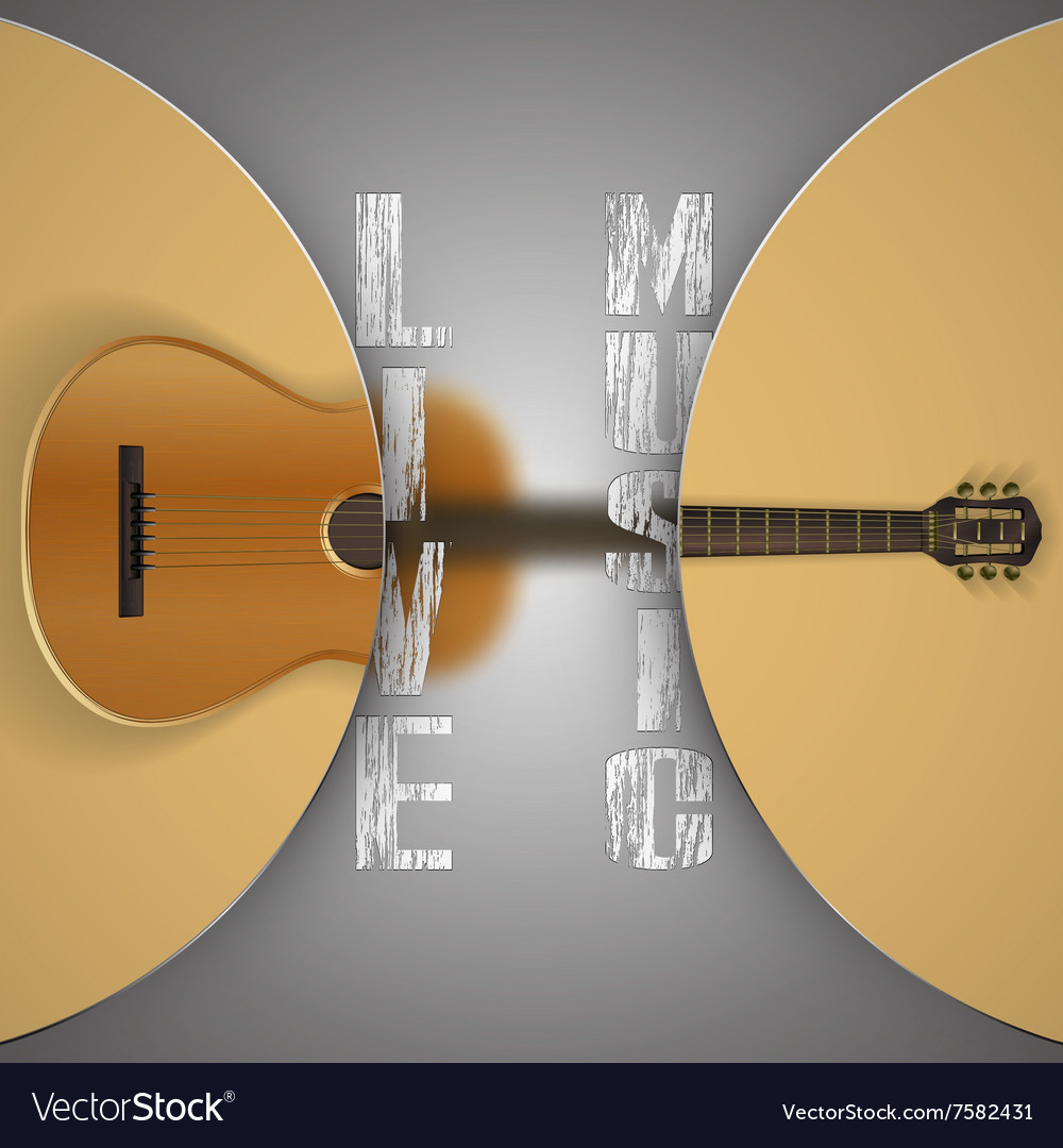 Acoustic guitar with blurred background vector