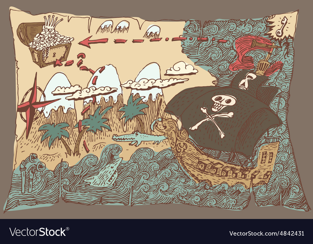 Island treasure map engaved vector