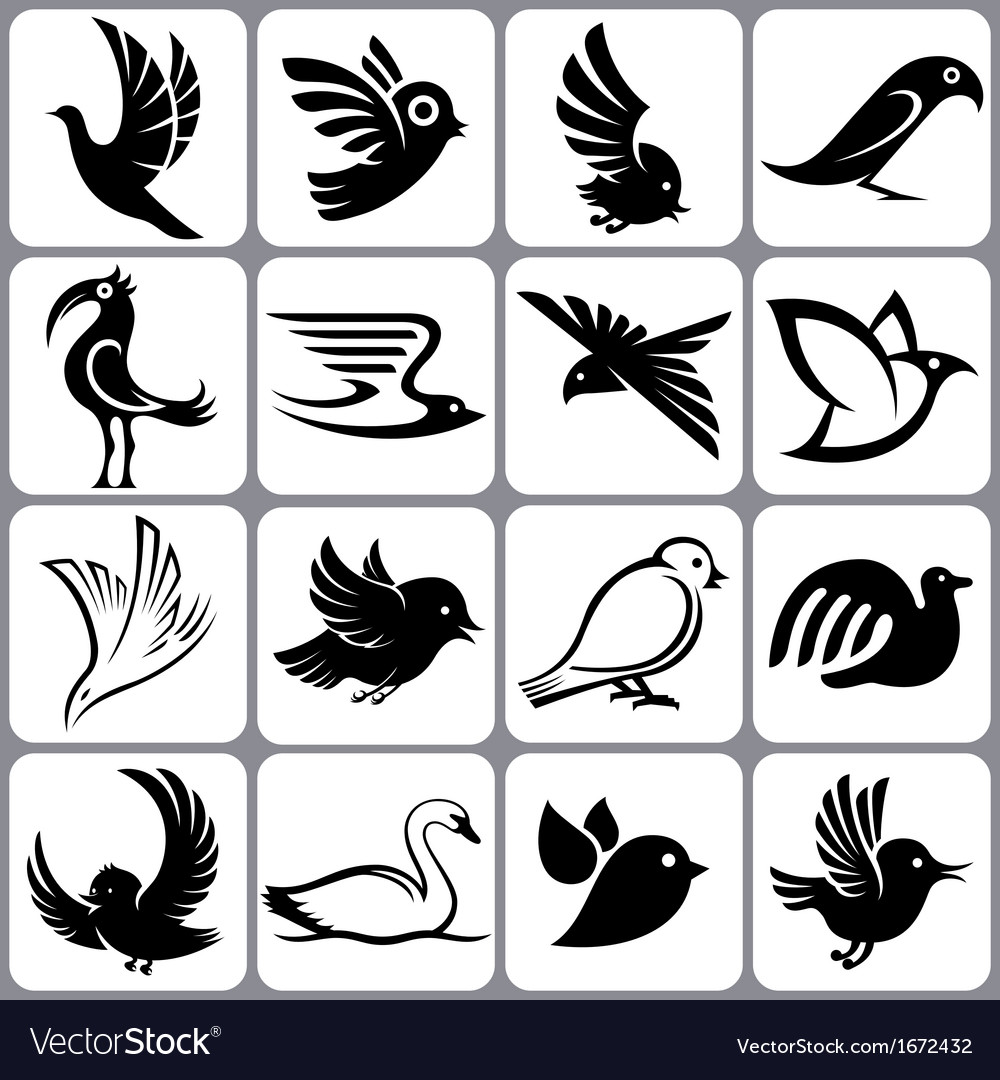 Bird icons set vector