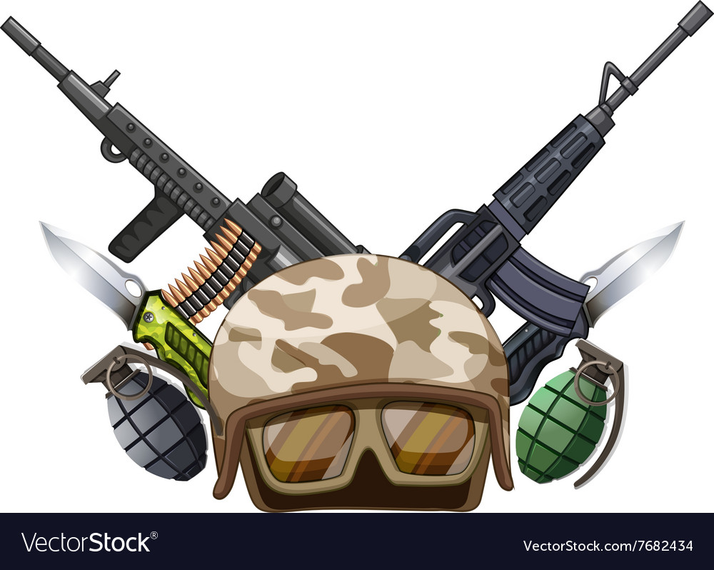 Many weapons and soldier helmet vector