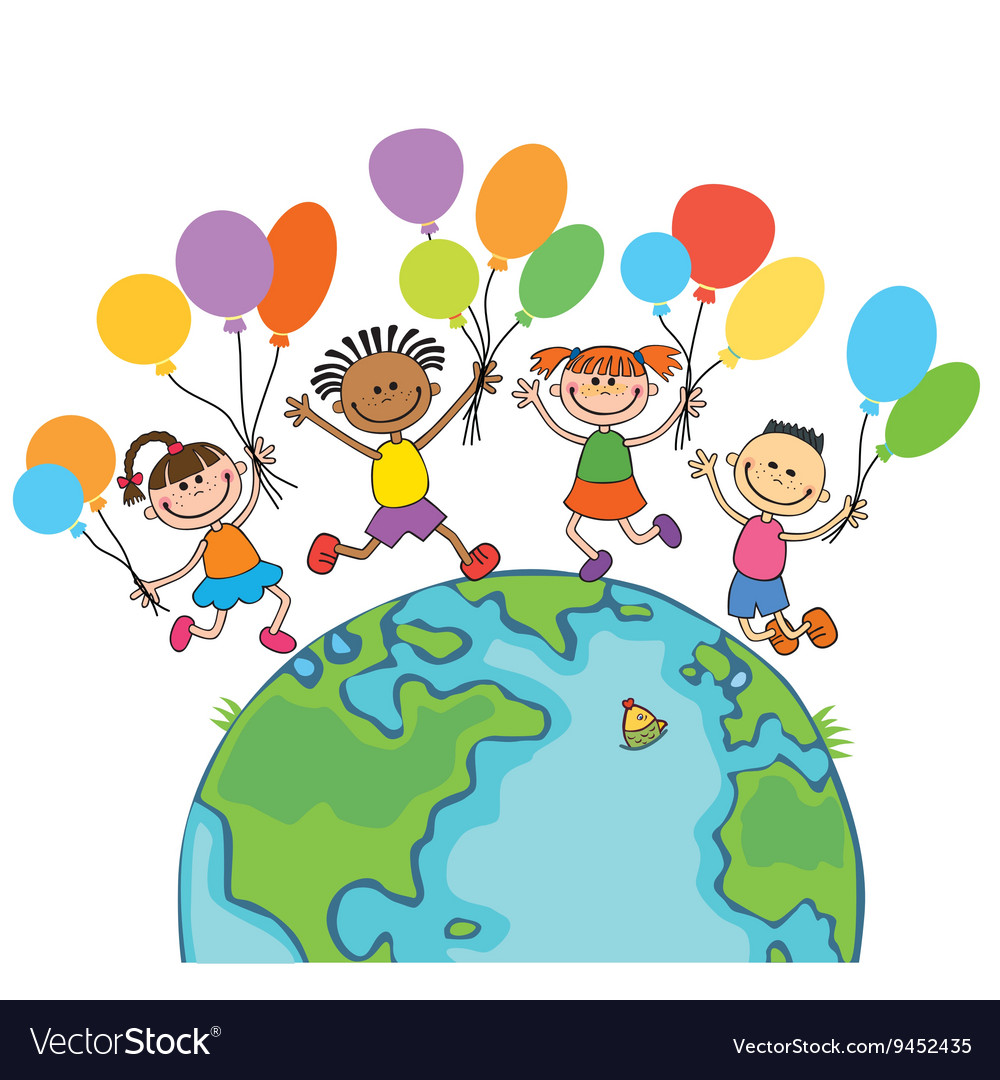 Four happy jumping kids round the globe with vector