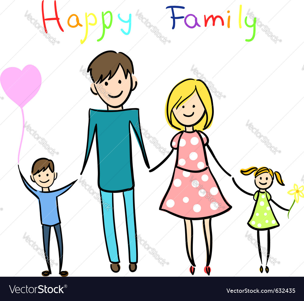 Happy family holding hands and smiling vector