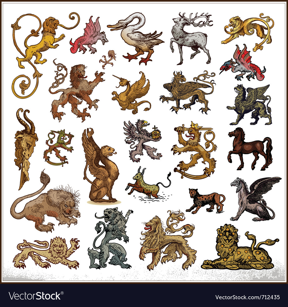 Heraldic beast collection vector