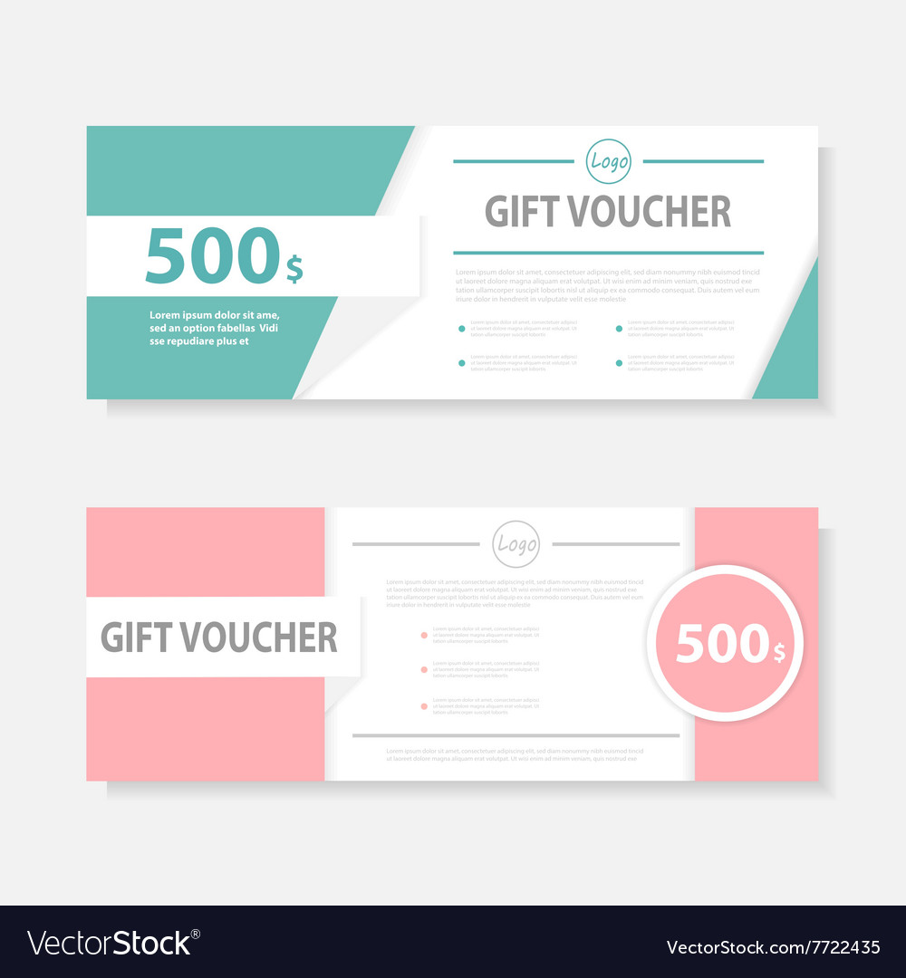 Sweet pink green gift voucher ticket template set vector