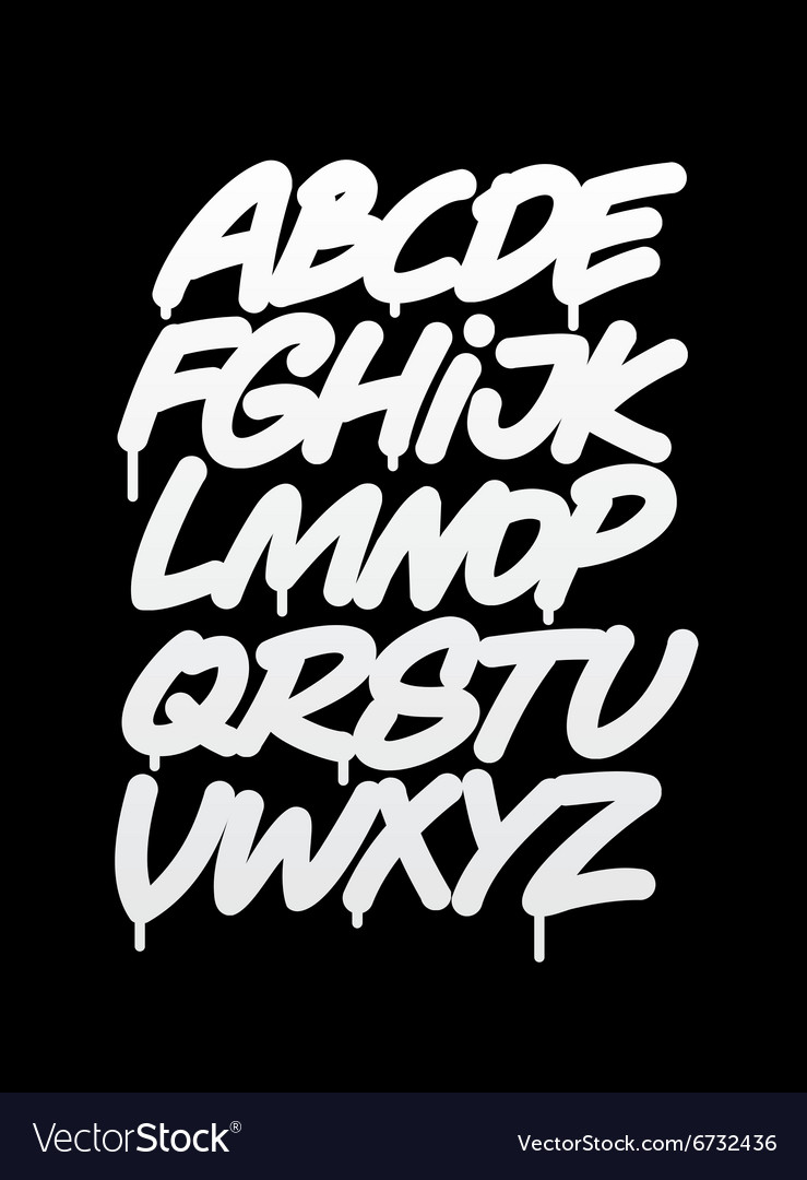 Hand written graffiti font alphabet vector