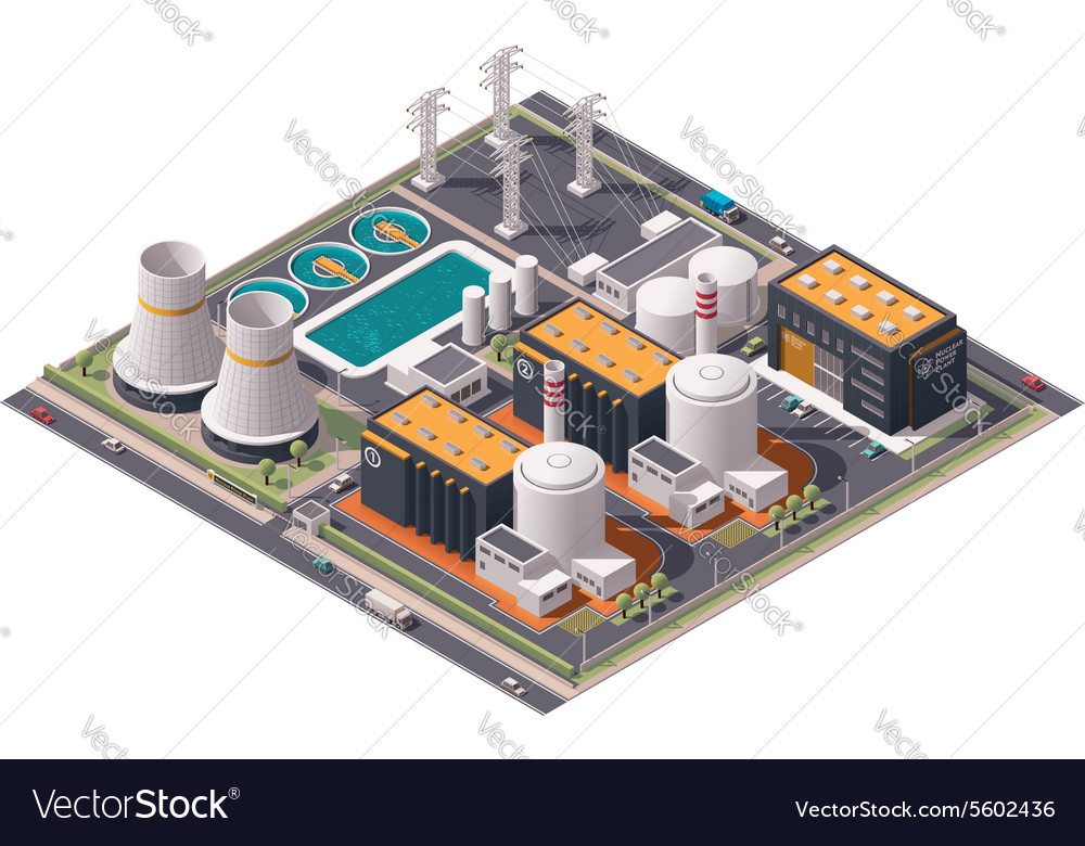 Isometric nuclear power plant icon vector