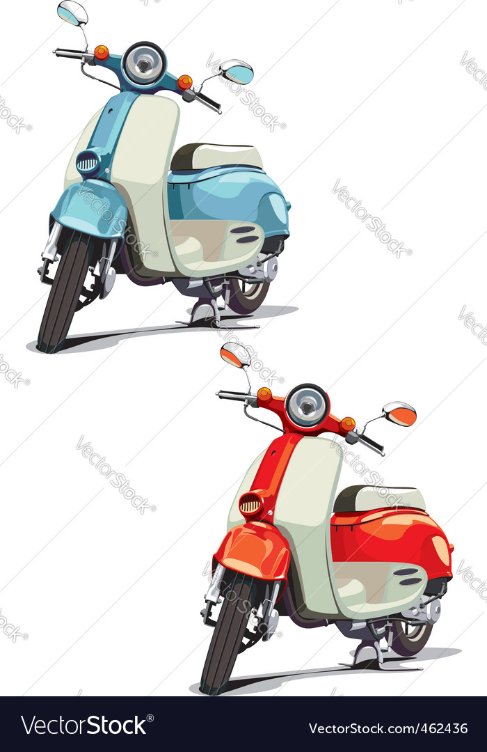 Oldfashioned scooter vector