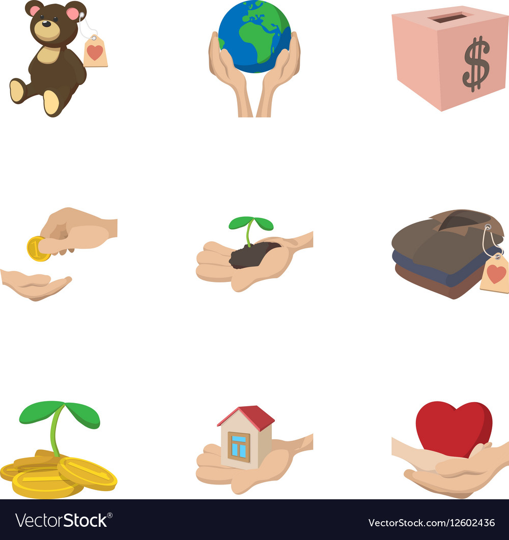 Philanthropy icons set cartoon style vector