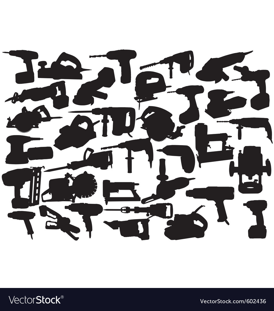 Power tool silhouettes vector