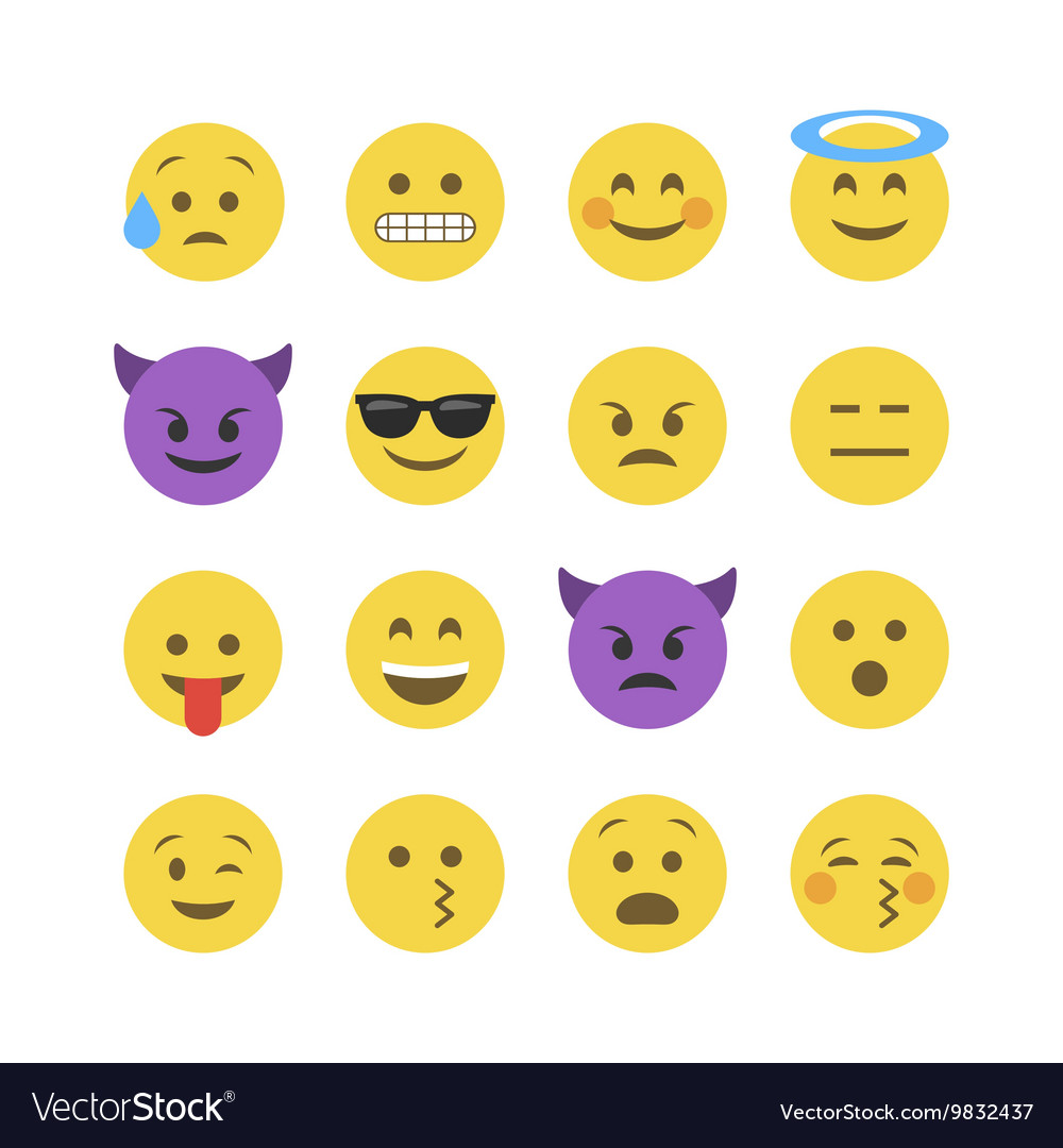 Emoticon emoji set vector