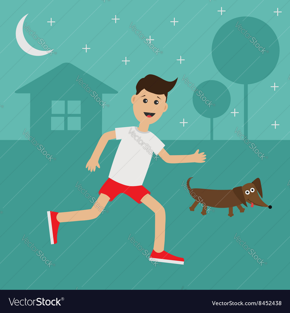Cartoon running guy dachshund dog night summer vector